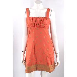 Maeve Anthropologie Dress Sz 4 Orange Gold Paisley